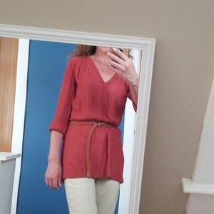 H&M brick red ling sleeve blouse. Sz 2